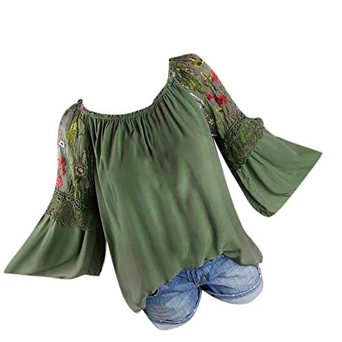 Strass Baumwolle, Elasthan (Bringbring Damen Bluse Floral Stickerei Trompete Ärmel Hemd Spitze Langarm Damenblusen Blusenshirt Oberteile Tops T-Shirt)