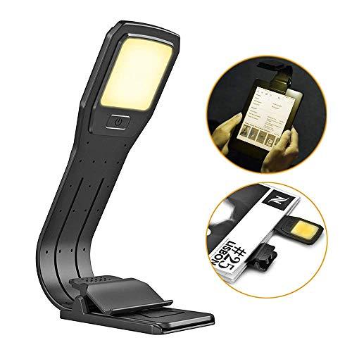 Z-overlord Clip Light USB-Aufladbare Lampe Augenpflege Doppelt als Lesezeichen flexibel mit 4 Stufen dimmbar für Buch ebook Lesen im Bett, Kindle, iPad (Schwarz), [Energieklasse A+++]