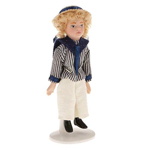 Dollhouse Miniature Petit Garçon En Bleu Marine Chemise Poseable Poupée 01:12 avec Stand