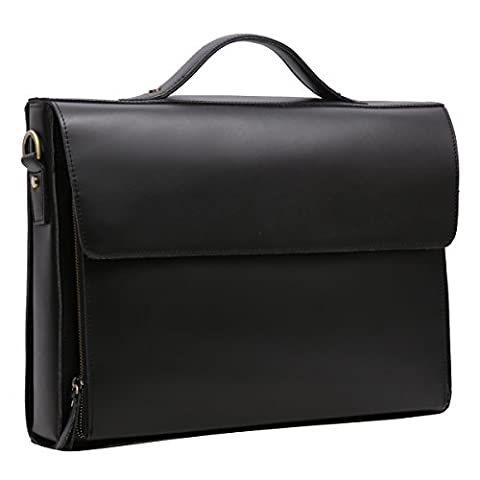 Leathario Herren Ledertasche Vintage Handtasche Umhängetasche Aktentasche Laptoptasche Unitasche Bürotasche Collegetasche Lehrertasche Arbeitstasche Businesstasche Messenger Bag, Schwarz