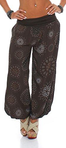 ZARMEXX Damen Pumphose Pluderhose Harem-Stil Sommerhose all over Print Freizeithose Aladinhose Hose One Size (Einheitsgröße: Gr. 36-42, braun)