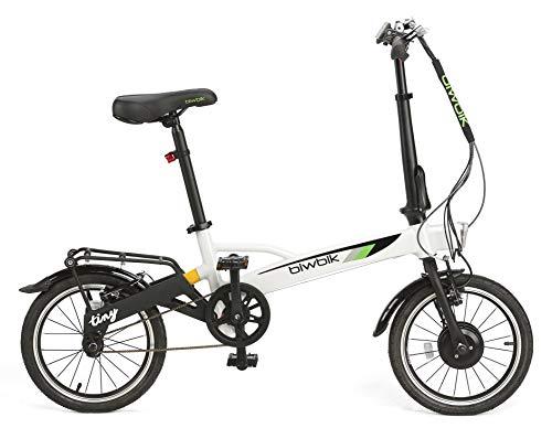 BIWBIK Bicicletta elettrica pieghevole Tiny Peso 12 kg, bianco