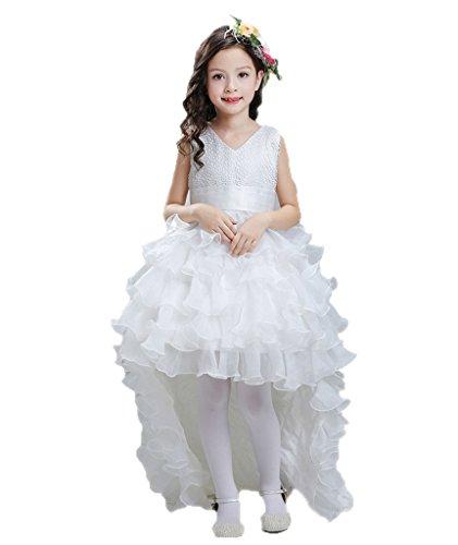 Rüsche Kleid Mädchen Graduierung Kleid mit Bogen Geburtstagsgeschenk Sommer BIGTREE Alter (Kleid Graduierung Kostüm)
