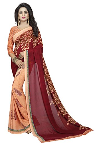 AMAZON Maroon Faux Georgette Jacquard Party & Festival Wear Saree - (Women's Clothing Saree For Women Latest Design Sarees New Collection Purple Saree With Blouse Free Size Beautiful Saree For Women Party Wear Festival wear Casual wear Designer Sarees With Blouse Piece Perfect Ethnic wear best offer on sarees 100% Genuine Product)  available at amazon for Rs.499