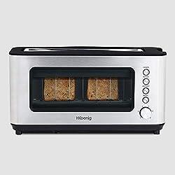 H.Koenig Grille pain Toaster 2 tranches VIEW7 Fentes larges Vitre Transparente Inox vintage, 6 niveaux de brunissage, Décongélation, Pain Viennoiseries, Centrage auto, Nettoyage facile, 37x19x15cm