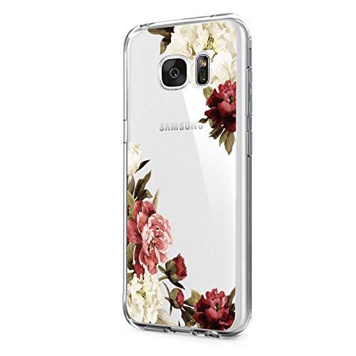 Pacyer kompatibel mit Galaxy S6 / S6 Edge / S6 Edge Plus Hülle transparent Silikon Ultra dünn Cooler grüne Blätter Wolf Schutzhülle Rückschale Handyhülle TPU Back cove(Blumen 3, Galaxy S6 Edge)