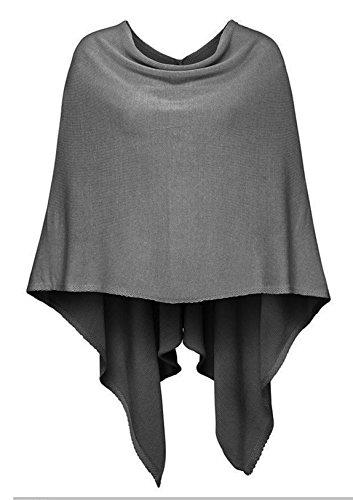 Und Für Schals Frauen Capes (Poncho-Schal aus Baumwolle - Hochwertiges Cape für Damen - XXL Umhängetuch und Tunika - Strick-Pullover - Sweatshirt - Stola für Sommer und Winter von Cashmere Dreams - Zwillingsherz (d.grau))
