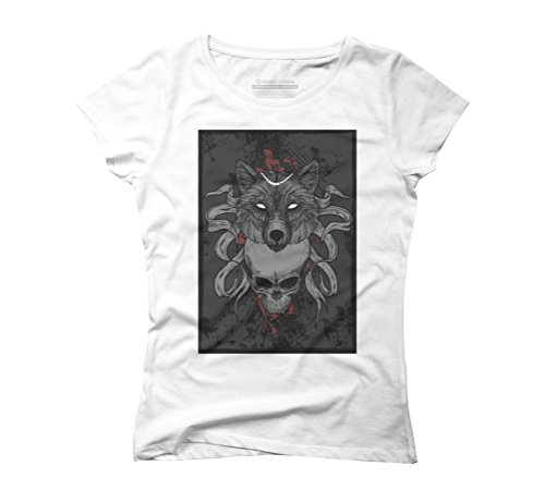 Wolf and man Women's Graphic T-Shirt - Design By Humans White
