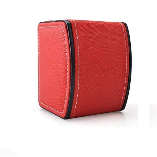 GossipBoy Cuir Présentoir/ Boîte/ Coffret à Montre Noir Coffret de Rangement pour Montres avec Coussin Gris 10 x 8,5 x 7,5 cm (Inclus), Rouge