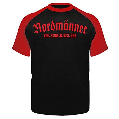 Männer und Herren T-Shirt NORDMÄNNER Viel Feind Viel Ehr (mit Rückendruck) Schwarz/Rot