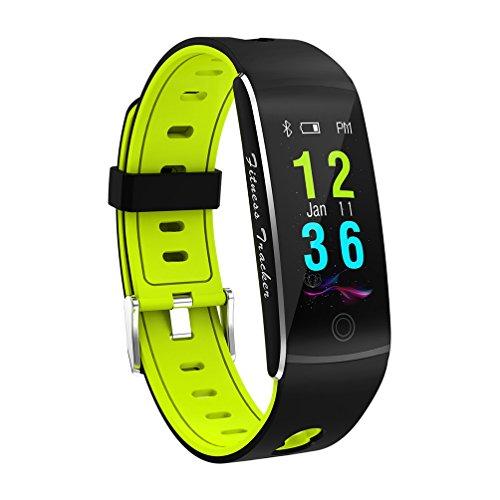 Fitness Tracker Smart Armband F10 Farbdisplay Pulsmesser IP68 Wasserdicht Touchscreen Bluetooth Schrittzähler Armband Schlaf-Monitor Für Frauen Männer Android Und IOS,Green