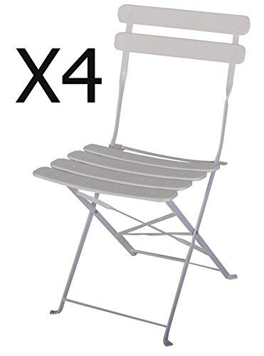 PEGANE Lot de 4 chaises de Jardin en Acier époxy Coloris Blanc - Dim : 42 X 46 X 80 cm