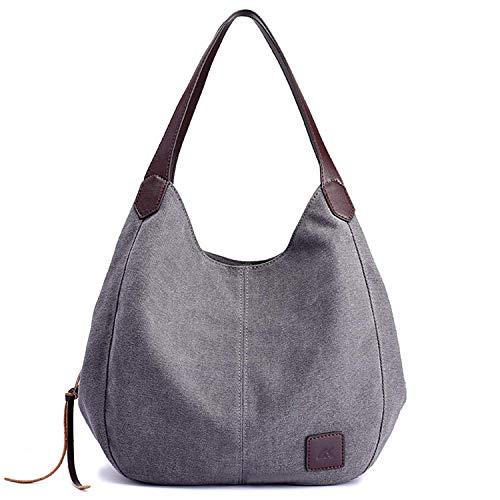 Borsa donna tracolla,binke borse mano donna borse a spalla in tela borsetta multifunzione sacchetto grande borsa shopping per lavoro viaggio