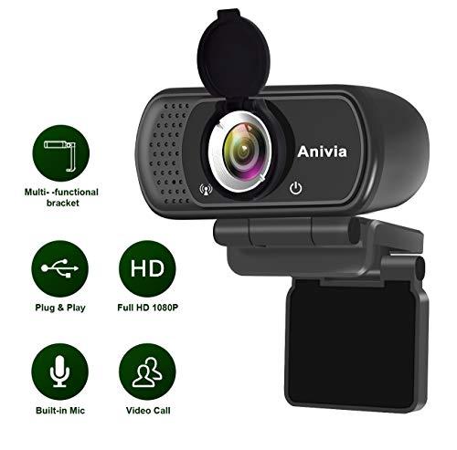 Webcam Caméra USB avec microphone Full HD 1080P Widescreen Appel et enregistrement vidéo pour le streaming sur ordinateur portable et ordinateur de bureau