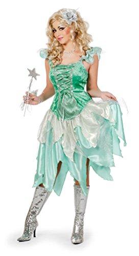 Karneval-Klamotten Waldfee Kostüm Damen grün Silber Fee-n-Kostüm sexy Märchen Karneval Damen-Kostüm Größe ()