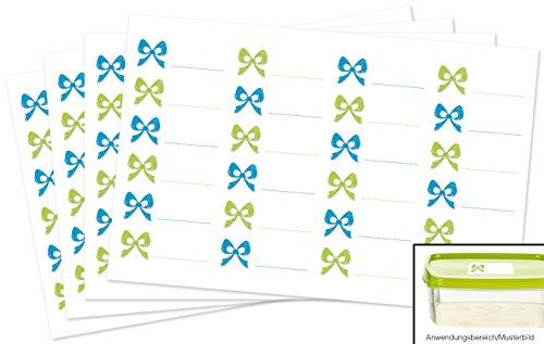 Kigima 96 edle Aufkleber Sticker Klebe-Etiketten Leer 5,2x2cm rechteckig blau-grün Schleifen-Look perfekt für Geschenke, Hochzeit oder Tischdeko Leer Eingelegte Gläser