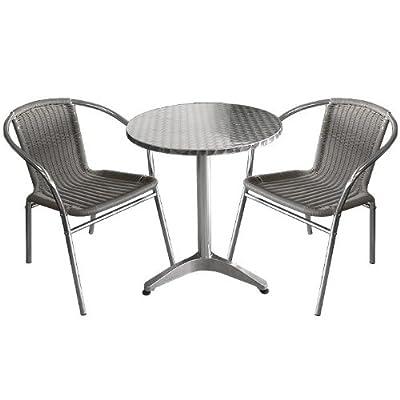 3tlg Bistro-Set Ø60cm Gartengarnitur Rattan Stapelstuhl Campingmöbel Terrassenmöbel Sitzgruppe