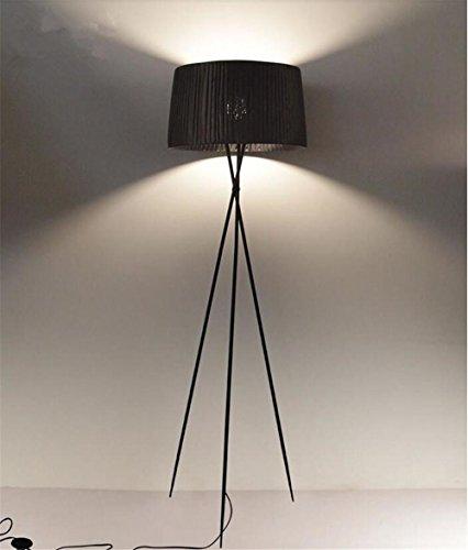 Tessuto Lampada nero Cavalletto Piano paralume in ferro battuto Lampada Base Soggiorno Camera da letto Decor moderno di illuminazione