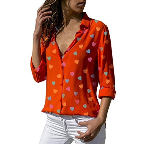 Kviklo Damen Plus Size Shirt Bunte Liebesform gedruckt Langarm Top Buttons Bluse Oversize(XL(44),Orange) (Recreation-halloween-party And Parks)