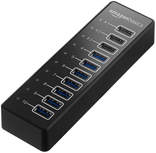 AmazonBasics Hub USB-A 3.1 10 ports avec adaptateur secteur 65 W (20 V/3,25 A), Noir