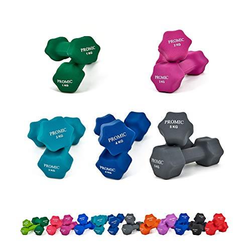 PROMIC 30KG(5Paar) Kurzhantelnset, 2x1KG 2x2KG 2x3KG 2x4KG 2x5KG, Neopren Gymnastikhanteln, Hanteln Set mit gutem Grip, Rutschfeste Übungshanteln, Gewichte Hanteln Set für Aerobic Pilates