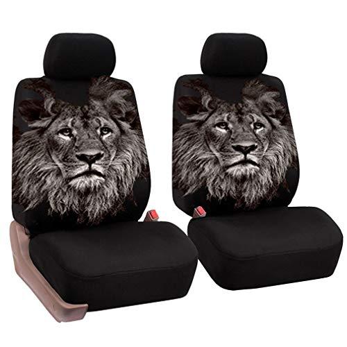 HotYou Set Coprisedili Anteriori Auto 2 Posti Seat Cover Protezioni Universali per Macchina Tessuto Poliestere,Rimovibile e Lavabile,Leo