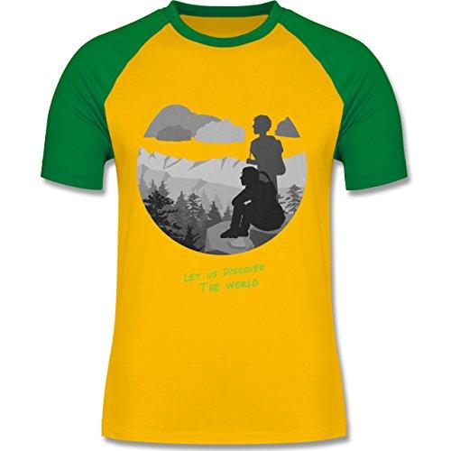 Statement Shirts - Backpacker - zweifarbiges Baseballshirt für Männer Gelb/Grün