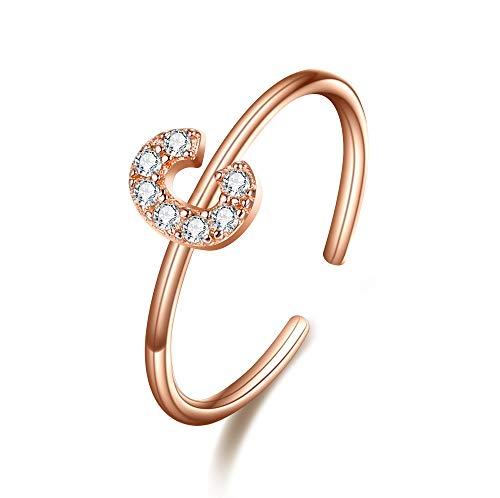 Clearine Damen Ring 925 Sterling Silber Zirkon verstellbare Premium Buchstaben C Alphabet Ring in Klar Rosa-Gold-Ton