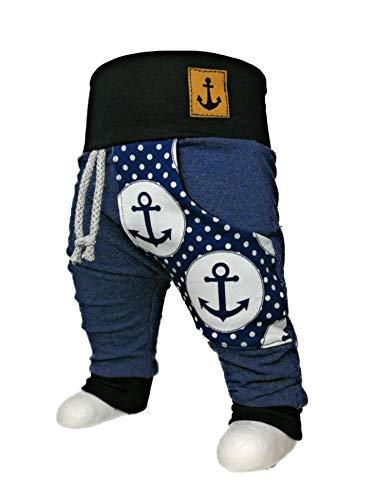 Baby Pumphose mit Tasche Anker maritim Jeansoptik handmade Puschel-Design