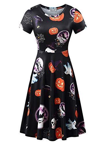 MSBASIC Damen Halloween Kostüm Festlich Cocktailkleid Partykleid Kürbis Abendkleider für Mädchen Frauen Vintage Ärmellos Karneval Swing MidiKleid 8006-11 Large