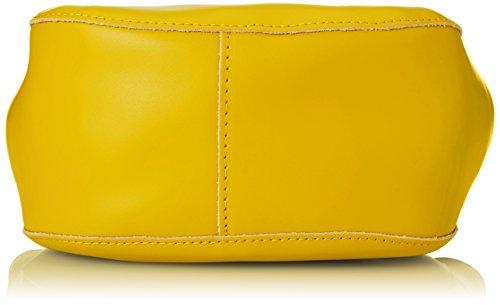 CTM Borsa a mano da Donna, Borsetta con tracolla interna regolabile, vera pelle made in Italy - 22x25x10 Cm Giallo