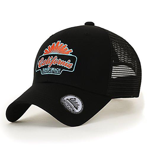 6a8ae9e1302 ililily California Embroidery Cotton XL Casual Mesh Baseball Cap Trucker Hat