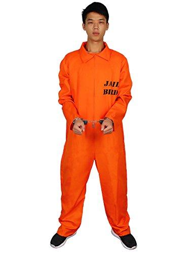 en Allerheiligen Karneval Kostüme Orange Overalls Streifen Häftlingskleidung (Orange Overall Kostüm)