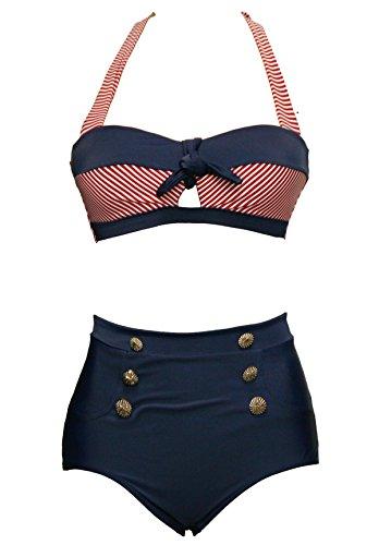 Bslingerie® Sexy Damen Retro Bademode Übergröße Halfter Bikini Set (S, Rot gestreiften Keyhole) -