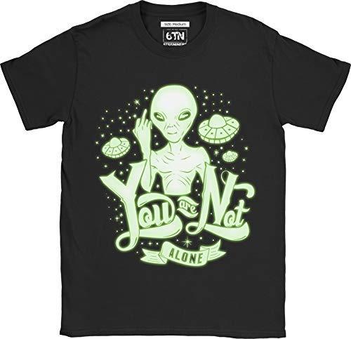 6TN Herren You Are Not Alone Lustig Leuchten Im Dunklen Alien T-Shirt - Schwarz, S
