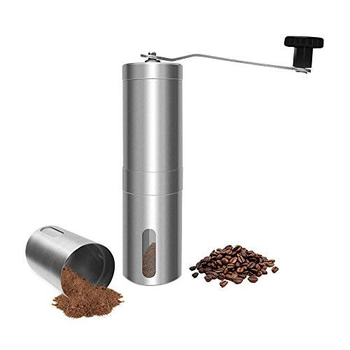 Daugee Manuelle Kaffeemühle Handheld Bohnenmühle Tragbare konische Fräsmühle Ergonomie Handkurbel Design gebürsteter Edelstahl (Kaffeemühle Hand-held)