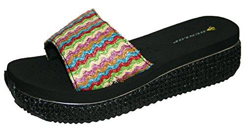 Dunlop–Für Damen Strand Sandale Flip Flops ausgeglichen - Noir glisser