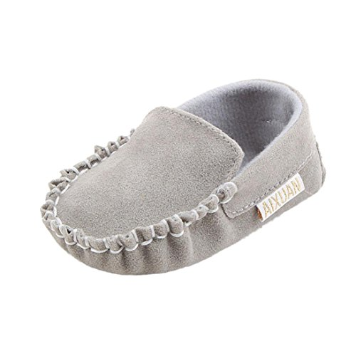 BZLine® Baby Mädchen Velours weiche Sohle Schuh weiche Schuhe Grau