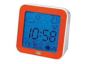Trevi ME-3105 - Réveil numérique fonction station météorologique avec température, taux d'humidité, prévisions et phase lunaires (alarme, snooze, écran éclairé) - orange