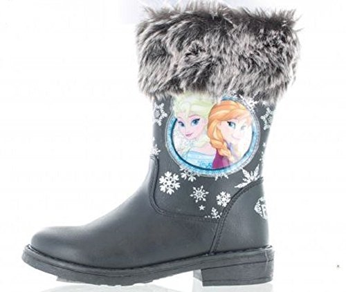 Mädchen Disney Frozen Anna & Elsa Schneeflocke Pelz Stiefel - Mädchen', Schwarz, (Schuhe Disney Frozen Elsa)