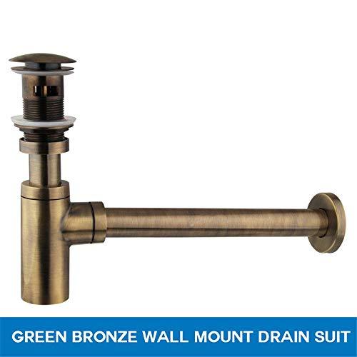 Pop-up-drain (VHVCX Badezimmer-Hahn-Flasche Traps Pop-Up-Drain-Becken Abfall Bassin-Hahn-P-Traps Abflussrohr In Der Wand Drainage Plumbing Rohr, Bronze)