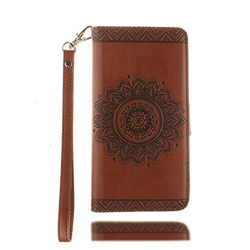 Custodia Portafoglio per iPhone 5S,Cover Resistente per iPhone 5,YingC-T Lusso Elegante Mandala Fiori Retrò Unico Rigida Design Brillantini Glitter Bling Diamante Strass Custodia Flip PU pelle Wallet Marrone