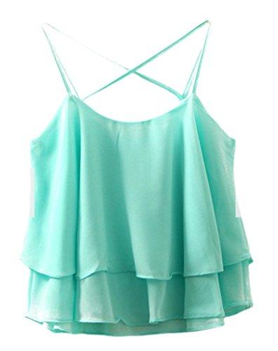 Bigood Femme Sexy Top sans Manche Couleur Uni T-shirt à Bretelle Dos Nu Vert