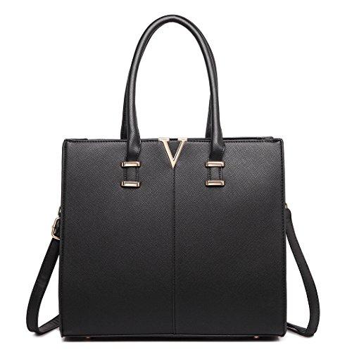 Handtasche Lulu Schultertasche Schwarz V Taschen Kunstleder 1666 Damen Leder Miss Form dX74x4A