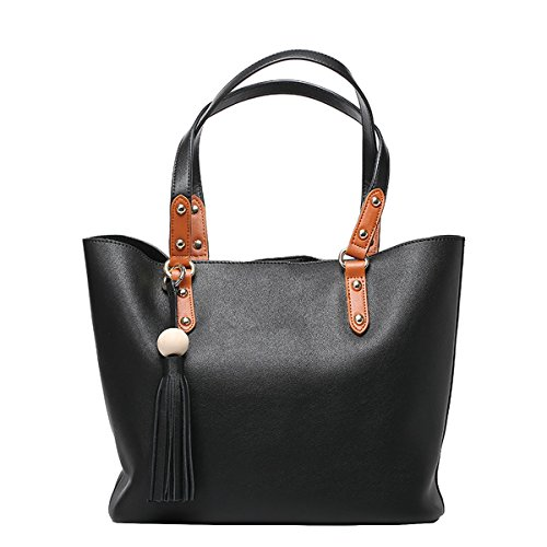 Dissa Q0783 Damen Leder Handtaschen Top Handle Satchel Tote Taschen Schultertaschen,34x15x27 B x T x H (cm) Schwarz
