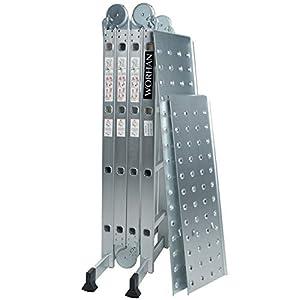 WORHAN® 4.6m Escalera Multiuso con 2 Plataformas de Acero Multifuncional Plegable Tijera Aluminio 2 Estabilizadores Bisagra Grande Nueva Generación Calidad Alta KS4.6+platforms