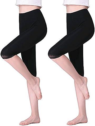 Vinconie Femme Noir Court Leggings Dentelle 3/4 Longueur Modal-Spandex Mince Slim Fit Yoga Gym Pantalons 2 Pack