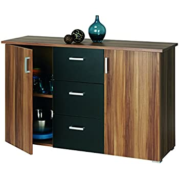 roller sideboard swift nussbaum schwarz k che. Black Bedroom Furniture Sets. Home Design Ideas