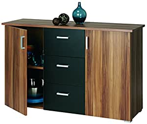 roller sideboard swift nussbaum schwarz k che haushalt. Black Bedroom Furniture Sets. Home Design Ideas