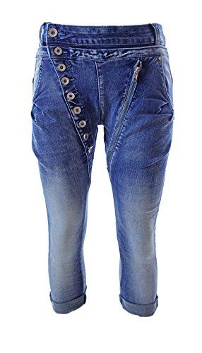 Designer Damen Jeans Secret Buttons Zipper Jeans Knöpfe Skinny Baggy Push Up (M, CAPRI DENIM) (Denim Skinny Capris)